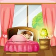 Stock Vector: Sleeping girl on bed