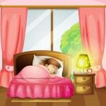 A sleeping girl on a bed — Stock Vector