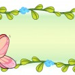 A butterfly and a flower plant — Stock Vector