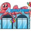 Aquarium and octopus — Stock Vector