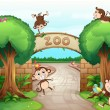 Monkeys in zoo — Stock Vector #18188907