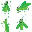 A four grasshoppers — Stock Vector