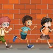 Royalty-Free Stock Vector Image: Kids running near wall