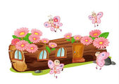 A wood house and butterflies — Stock Vector