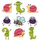 Vari insetti e animali — Vettoriale Stock