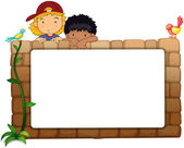 Kids with white board on wall — Stock Vector