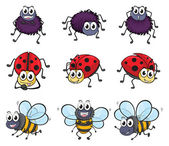 A spider, a ladybug and a bee — Vector de stock