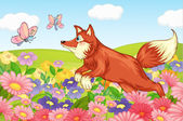 Fox and flies in garden — Stock Vector