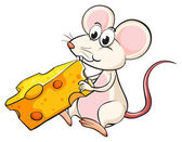 A mouse eating cheese — Stock Vector