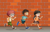 Kids running near wall — Stock Vector