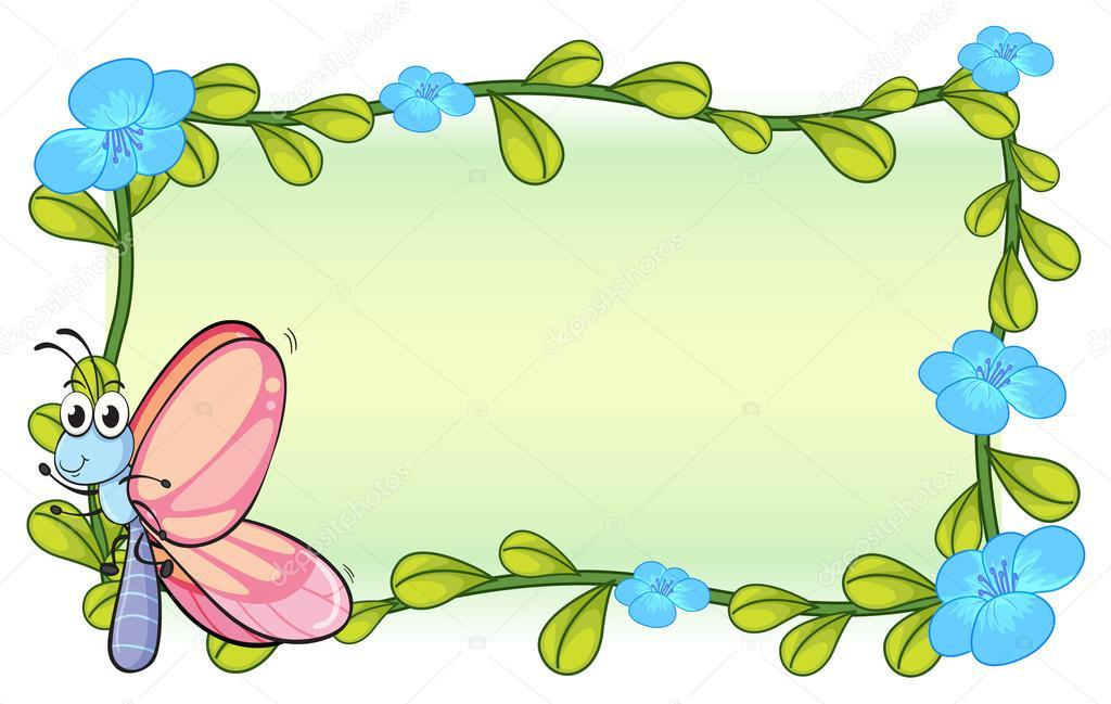 一只蝴蝶和白色背景上的花卉植物插图 — 矢量图片作者 interactimage