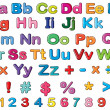 Alphabets and numbers — Imagen vectorial