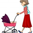 A woman and baby pram — Stock Vector