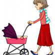 Stock Vector: Womand baby pram
