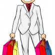 A smiling man with bags - Stock Vector