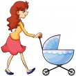 Stock Vector: A woman and baby pram