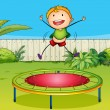 A boy playing trampoline — Stock Vector