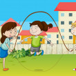 Stock Vector: Kids playing rope