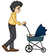 A man and baby pram — Stock Vector