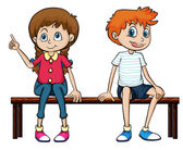 A boy and a girl sitting on a bench — Stock Vector