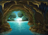 A cave and a water — Stock Vector
