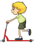 A boy playing push bicycle — Stock Vector