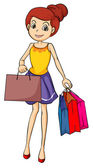 A smiling girl with bags — Stock Vector