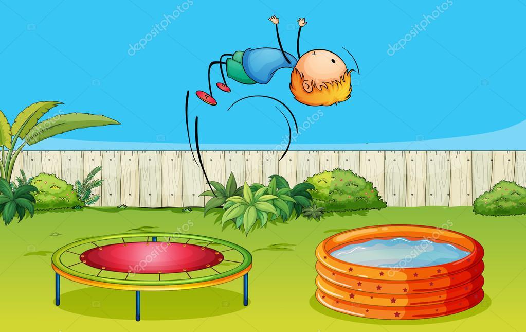 Una cama el stica de ni o jugando vector de stock for Trampolines para piscinas