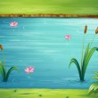 A river and a beautiful landscape — Stock Vector