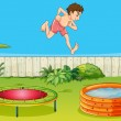 A boy on a trampoline — Stock Vector