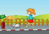 En tjej som går med sin hund — Stockvektor