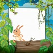 A rabbit and a white board — Imagen vectorial