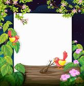 Birds and a white board — Stock Vector