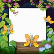 Butterflies and a white board - Image vectorielle