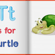 A picture of a turtle in a book — Imagen vectorial