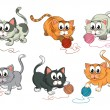 Cats playing with wool - Stock Vector