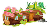 Caterpillars and a wood house — Stock Vector