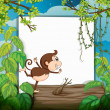 A smiling monkey and a white board — Stock Vector #18438325