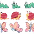 Stock Vector: Caterpillar, butterfly and snail
