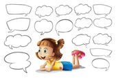 A smiling girl and speech bubbles — Stock Vector