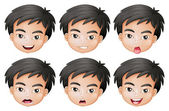 Faces of a boy — Stock Vector