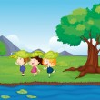 Three girls playing beside the pond — Stock Vector #18832515