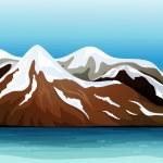 karla kaplı dağ — Stok Vektör