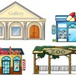 Stock Vector: Gallery, drug store, barber shop and zoo
