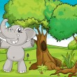 Stock Vector: Elephant and trees