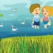 A girl and a boy in the pond - Imagens vectoriais em stock