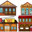 English pub, Korean restaurant, pawnshop and fire station - Stock Vector