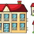 A big apartment and two small houses - Stock Vector
