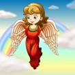 An angel and a rainbow - Stock Vector