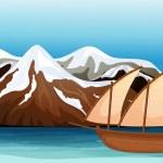 dağ alan yüzen tekne — Stok Vektör